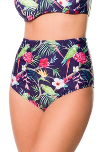 Retro Highwaist Bikini Panty with Exotic Print - Navy Blue
