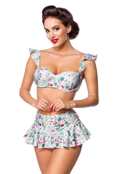 b2f087d1911 ... Retro Highwaist Bikini Skirt with Soft Floral Pattern -  Green-Pink-Yellow