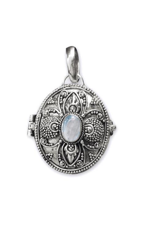 Medaillon silber  Dark Secret Medaillon - Silber 925er + Regenbogen-Mondstein, 33,95 &e