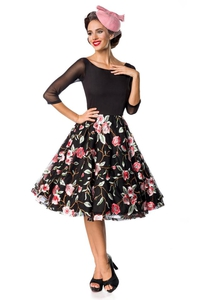 Embroidered Premium Vintage Swing Dress - Black-Pink