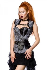 Black Steampunk Leather Look and Grey Lace Overbust...
