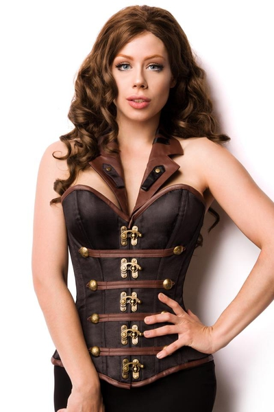 Black-Brown Steampunk Satin and Leather Look Overbust Corsage