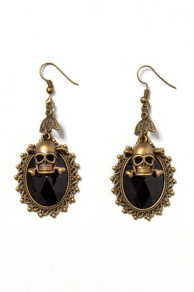 Skull Ornament Earring with Black Stones, 8,95