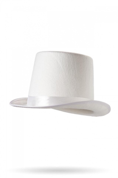 afa5e6b8ad1 White Mini Top Hat with Satin Ribbon ...