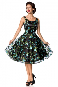 Embroidered Premium Vintage Flower Dress - Black-Blue