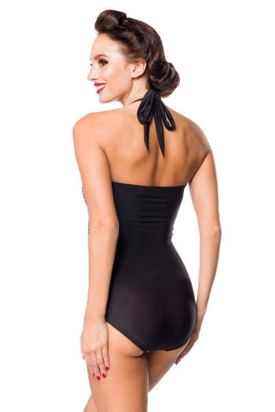 Movie Star Vintage Swimsuit - Black-White-Red