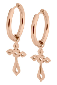 Little Gothic Cross Hoops Rose Gold