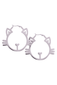 Silver Meow Hoops