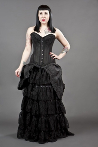 Victorian Beauty Taffeta and Lace Maxi Skirt