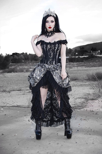 Versailles Corset Dress - Silver Brocade