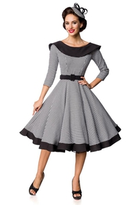 Premium Vintage Swing Dress with Houndstooth Pattern