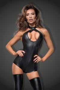Wetlook Bodysuit with Cutout Detail - Noir Handmade