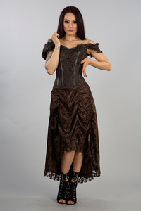 Burleska Passion Corset Dress in brown brocade and lace...