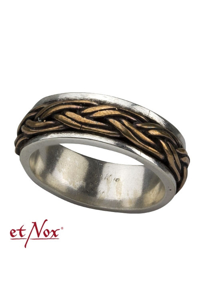 etNox Celtic Knot Silver Ring with Bronze