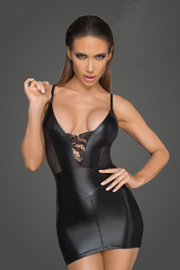 Wetlook Mini Dress with Net and Lace Embroidery -...