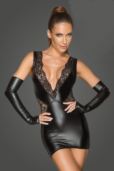 Wetlook and Lace Mini Dress with Deep Neckline - Rebelious by Noir Handmade