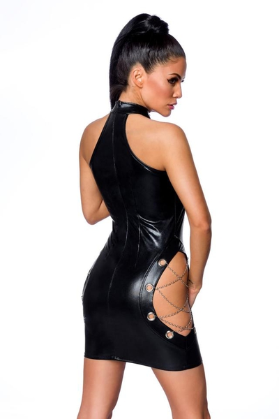 Wetlook Mini Dress with Cutout Details