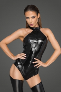 Wetlook and Lacquered Imitation Leather Bodysuit -...