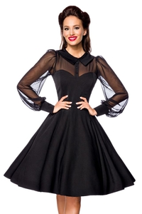 Vintage Dress with Mesh Panel - Black