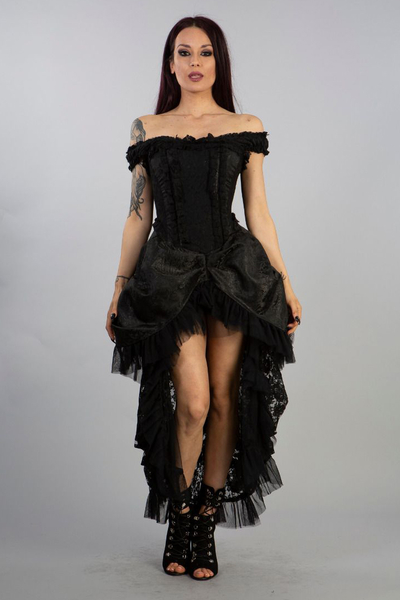 Versailles Corset Dress - Brokat Schwarz 36