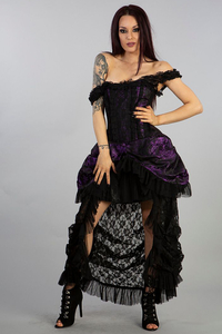 Corset Dress Versailles - Brokat Violett-Schwarz