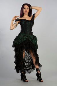 Corset Dress Versailles - Brokat Grün-Schwarz