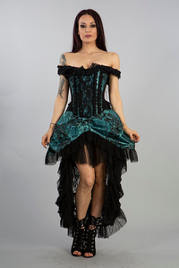 Versailles Corset Dress - Turquoise Brocade and Black Lace
