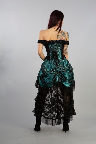 Corset Dress Versailles - Brokat Türkis-Schwarz 44