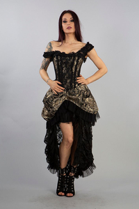 Versailles Corset Dress - Gold Brocade and Black Lace