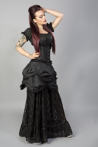 Miranda long gothic victorian skirt in black