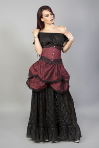 Miranda long gothic victorian skirt in burgundy-black