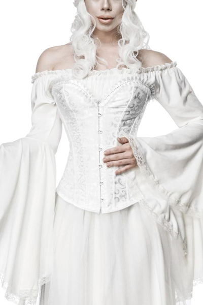 White Brocade Overbust Corsage