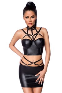 Powerlastic Wetlook Set with Skirt and Harness Detail