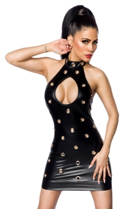 Wetlook Mini Dress with Cutout Detail and Eyelets