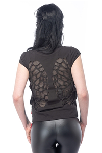 Top with Angel Wings Print and Transparent Wings on the Back