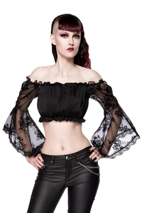 Crop Top with Lace Sleeves