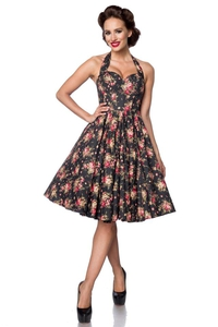 Bella Vintage Dress - Black-Pink-Green