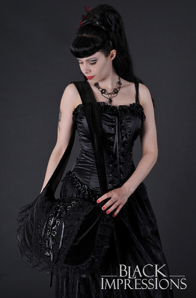 Romantic Corset Velvet Handbag black
