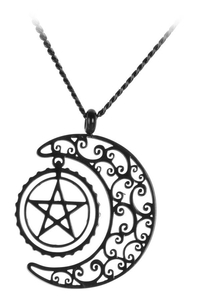 Black Steel Protective Luna Necklace