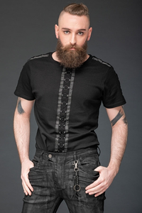 Shirt with black rings on front and sleeves