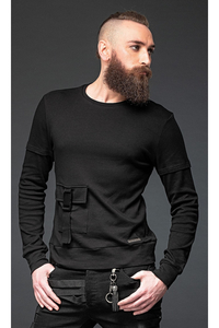 Sweater with Pocket and Buckle