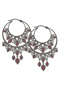 Chandelier Hoops in Black Steel - Red Filled