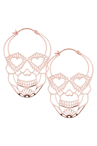 Sugarskull Hoops in Rosegold Steel