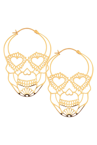 Sugarskull Hoops in golden Steel