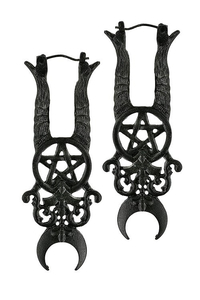 Black Gothic Maleficent Earrings with devil horns